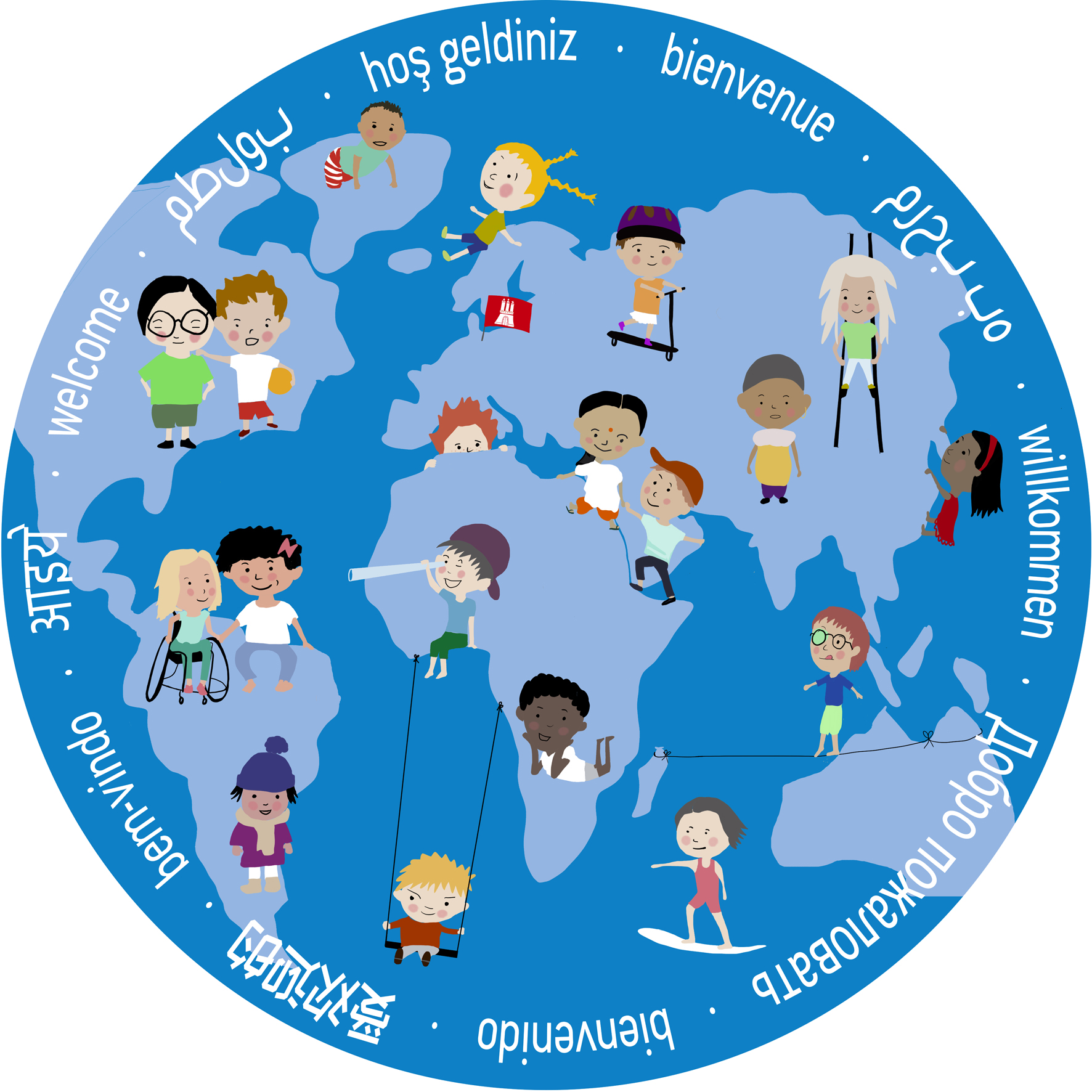 Vielfalt – Große Illustration für Kita